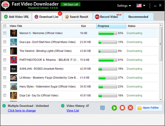 fast video downloader  search video  copy link
